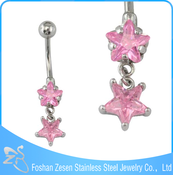 New season hypoallergenic stainless steel dangle cute pink star diamond navel piercing