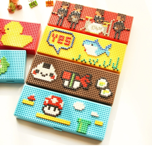 Cute Plastic DIY Assembled Cartoon Pencil Case with building Blocks, Random Color Delivery