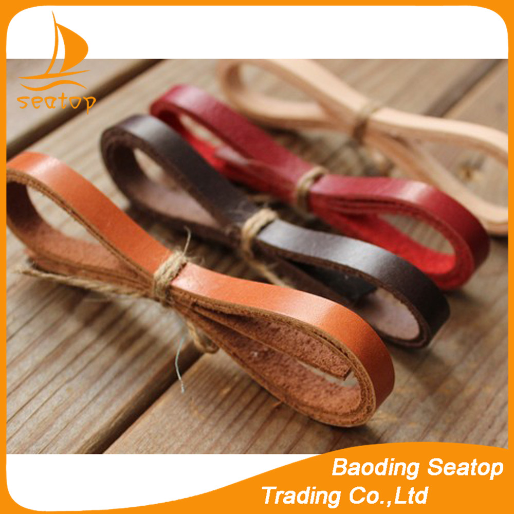 wholesale 3mm wide flat real leather cord for pet collar chain bracelet necklace