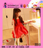 Space Cotton Air Layer Red Ruffle Frocks High Quality Latest Frock Designs For Girls