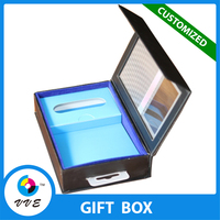 High Quality Elegant Matte Black Foldable Rigid Gift Box With PVC Window and Hanger