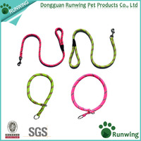 2016 Soft Bright Yellow/Pink Slip Dog Collar Lead Training/Running Outside Sports Set