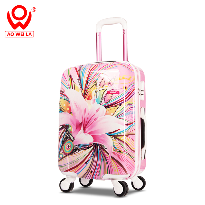 High Quality Custom Design Trolley Luggage <strong>Abs</strong>,Luggage Case,Flower Hard Suitcase