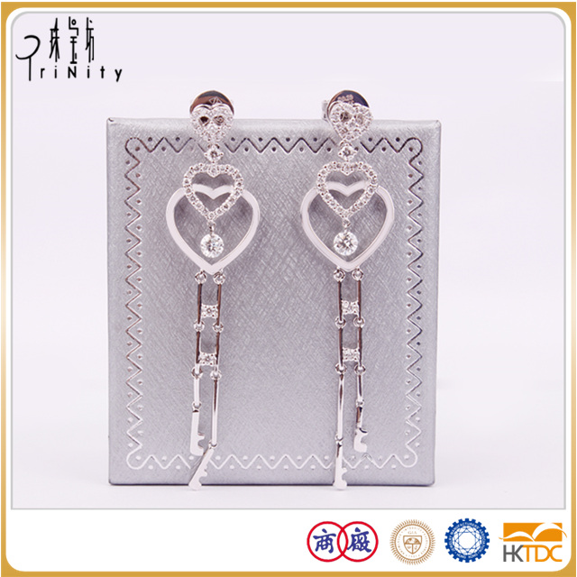 with two-year warranty diamond dangle earrings