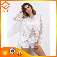 Ladies latest top fashion design casual lady 100% cotton embroidery blouse with long sleeve