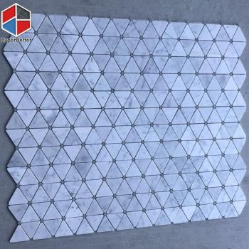 Triangle shaped white marble mosaic tiles