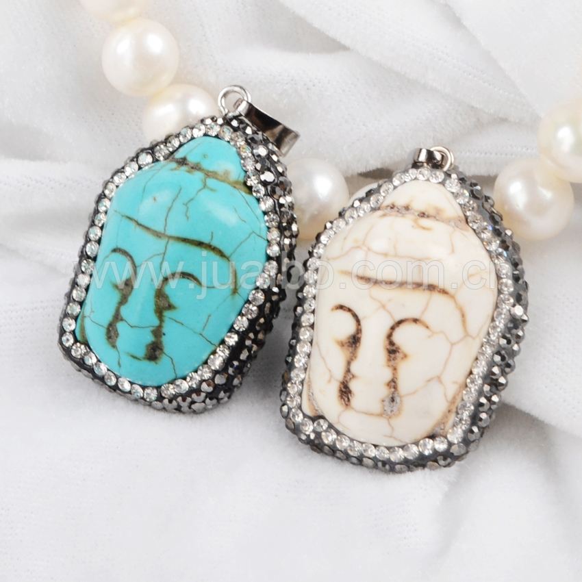 natural white and blue turquoise buddha statues pendant with crystals beads stone