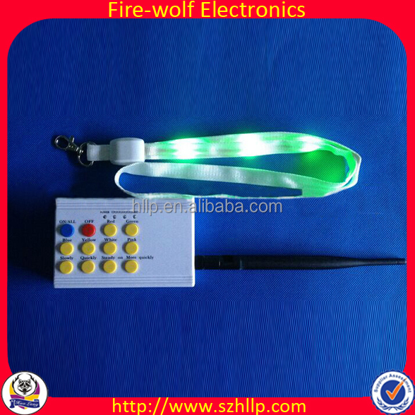 2015 Glowing Polyester Lanyard Roll Manufacturer Flashing Remote Control Polyester Lanyard