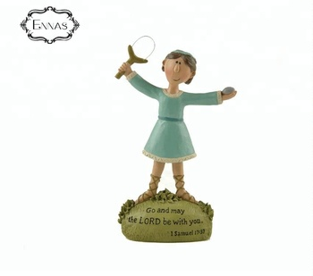 Resin Jesus shepherd boy decor with slingshot