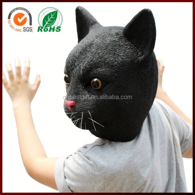 Donkey Kong Halloween Adults Costume Animal Black Sexy Cat Full Face Female Latex Mask