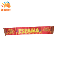 For the Russia World Cup customized design satin fabric spain football fans scarf