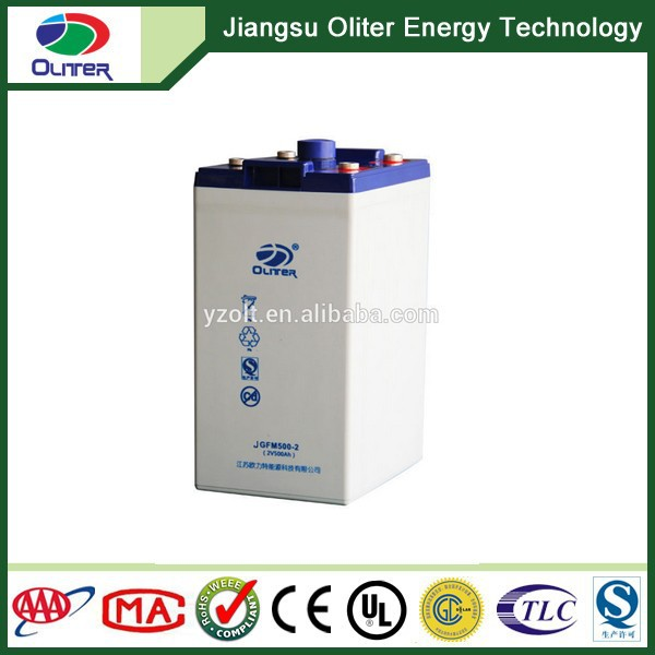 Rechargeable high capacity gel 2V500AH sealed lead acid battery