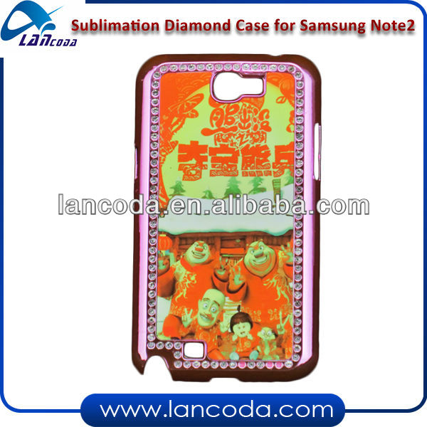 sublimation phone case with diamond frame for Samsung Note2(N7100)