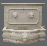 Hand Carved Beige marble Stone Lion Outdoor Wall Fountain