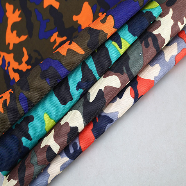 Factory wholesale custom d600 camouflage oxford pu leather textile fabric for waterproof backpack