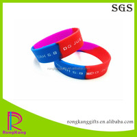 three colors segmented debossed color filled silicone bracelet