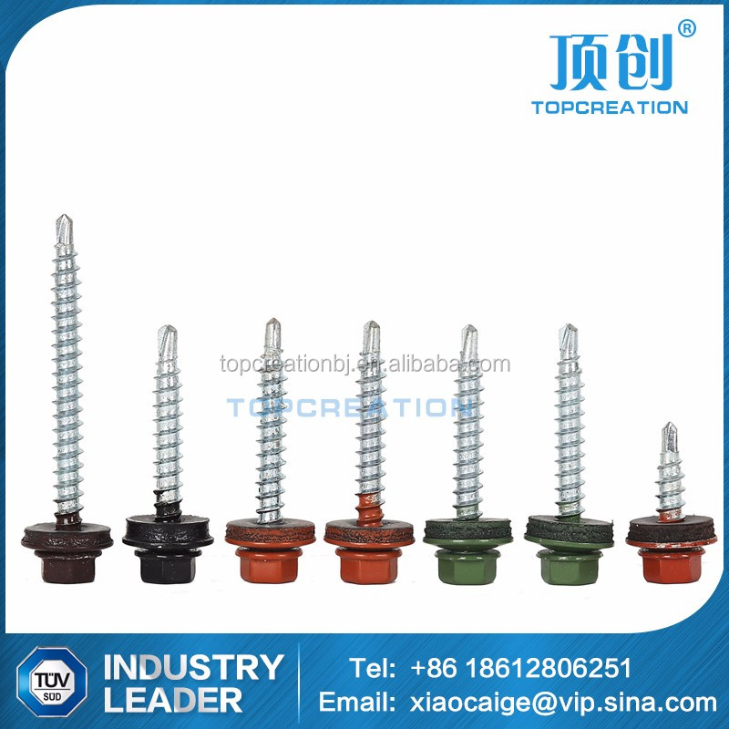Power Coat Painted Hex Head Self Drilling Screw With EPDM Washer