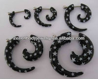 Fashion acrylic fake black ear plugs print white pentagram ear spiral body piercing jewelry