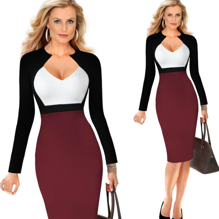zm21934a new fashion ladies clothes v-neck sexy modern ladies official dresses