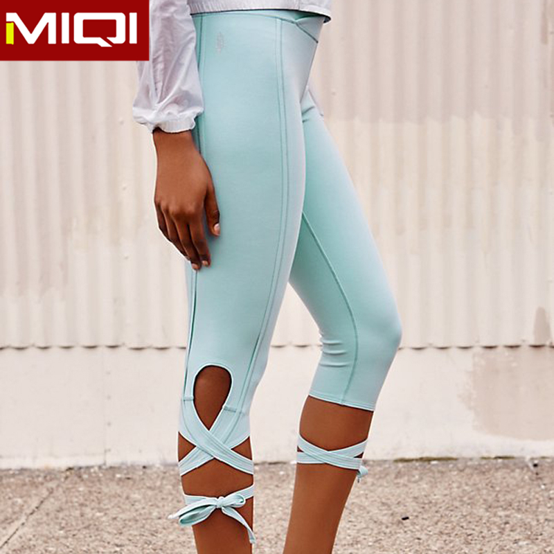 Latest Design Women Tight Yoga Clothing With Unique Strappy Design in Leg Side Yoga Pants