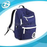 Custom Fashionable Promotional High Quality Brand Blue Outdoor Cotton Canvas Backpack Shoulder School Bag