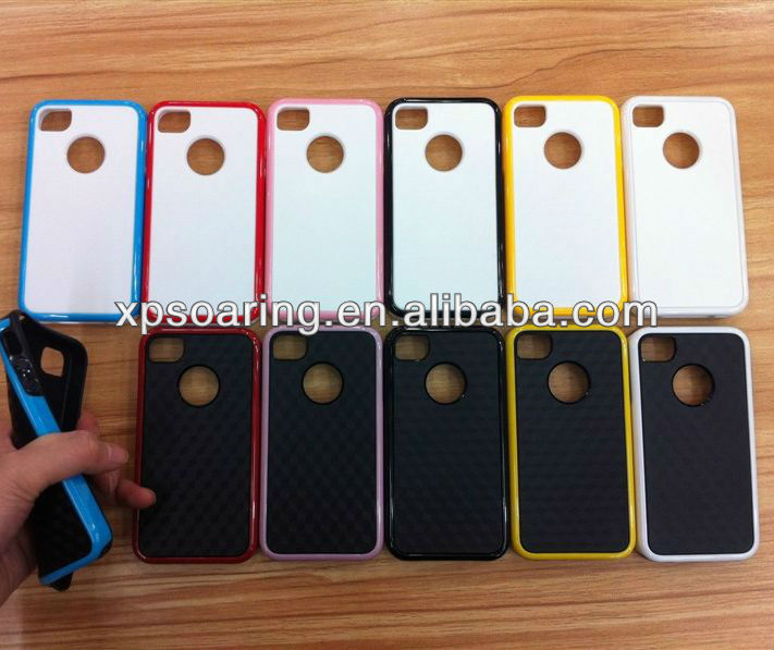 TPU+PC fiber carbon 3 in 1 cover case for iphone 4g 4s