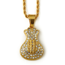 2016 china wholesale Money bag iced out gold pendants hip hop pendant necklace with long chain