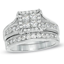 1-1/2 CT. T.W. Princess-Cut Quad Diamond Bridal Set In White Gold Rings Marquise Ring Best Place To Buy Loose Diamonds