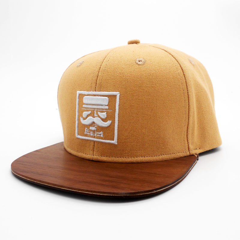 White 3d embroideried logo wood walnut brim snapback cap men hats