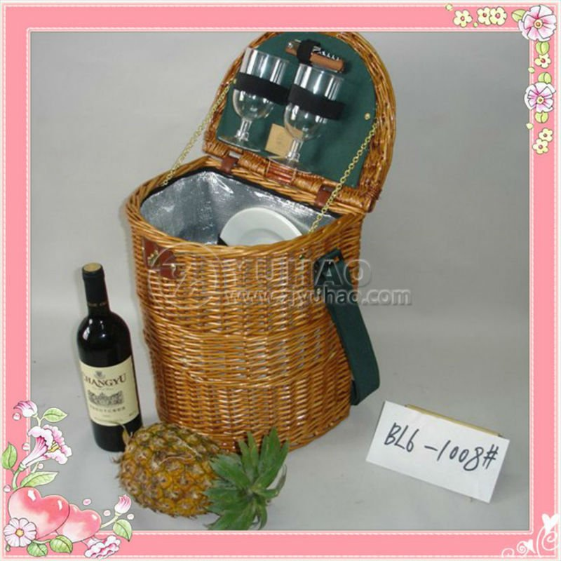 Promotional Cheapest Wicker Picnic Basket For Two Persons