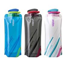 flat collapsible plastic water bottle for travel