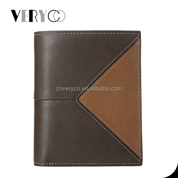 Brown Cowhide Contrast Vertical Design Men Leather Wallet