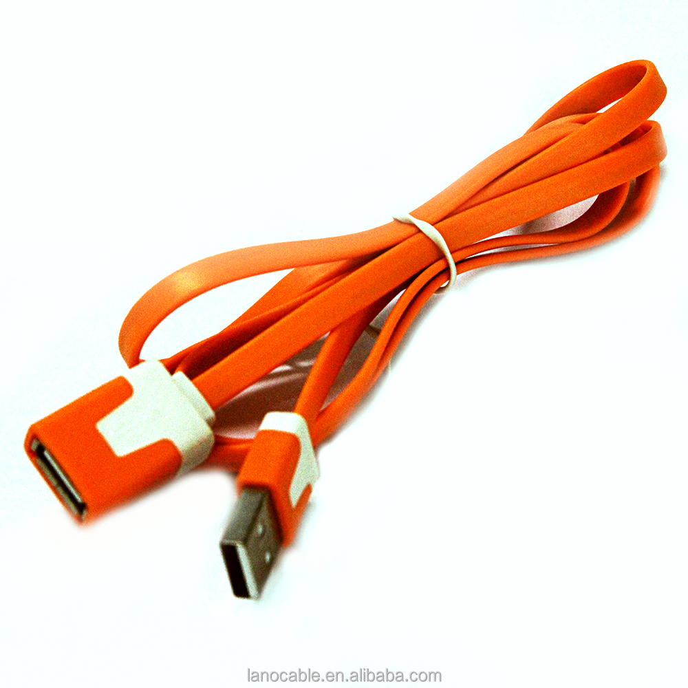 1M orange data sync charging usb extension cable