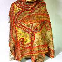 Super Viscose Woolen Thread Embroidered Jacquard Paisley Weave Viscose Shawl