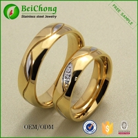 18K gold jewelry wholesale unique stainless steel gold ring design for couples