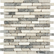 lander stone emperador light and dark marble mosaic tile strip new product