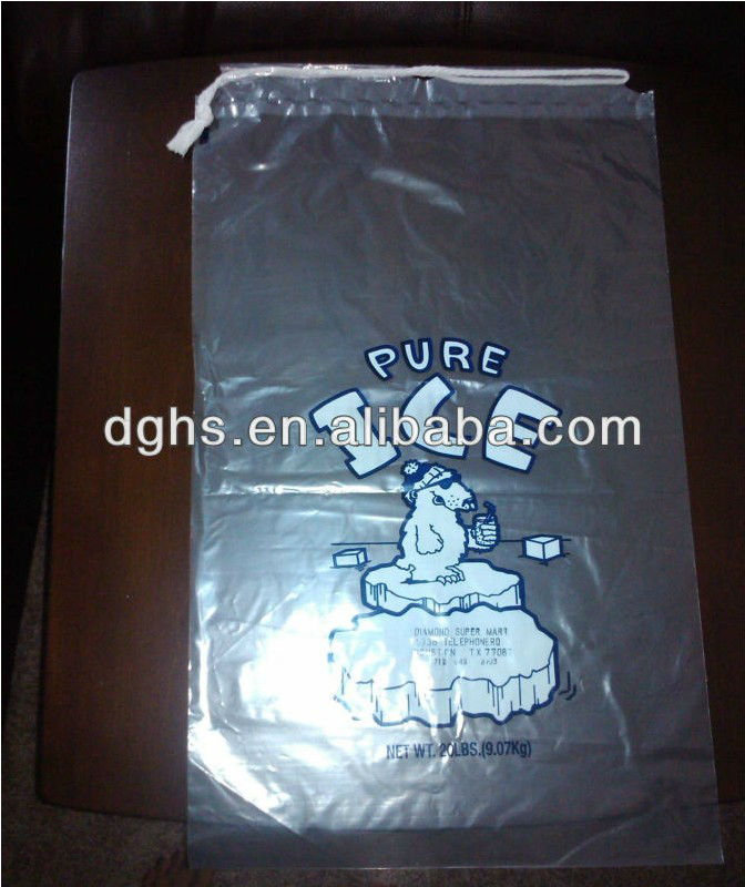 Customize plastic drawstring ice bags with printing