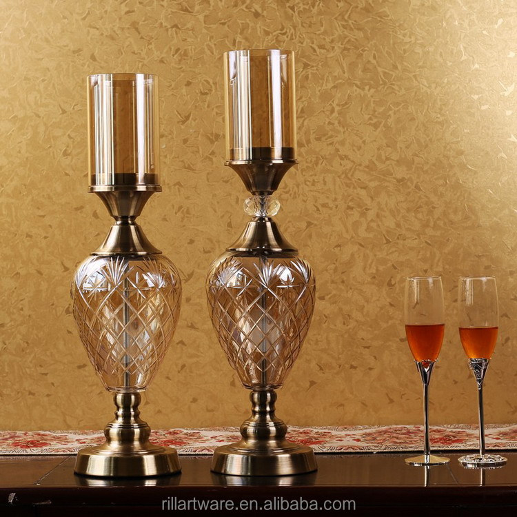 European style modern metallic bronze glass candlestick for crystal home decoration wedding gifts