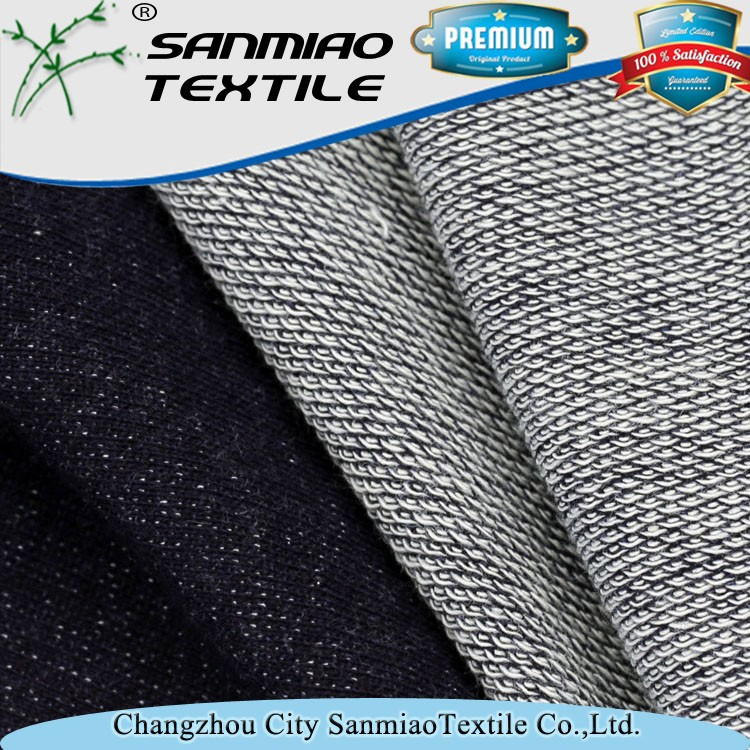 Cloth material indigo 100 cotton french terry knitted fabric for coat WHCP-2611