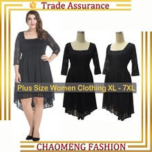 8008# Long Sleeve Elegant Black High Quality Lace Inregular Dress 2017 Stylish Plus Size Women Clothing