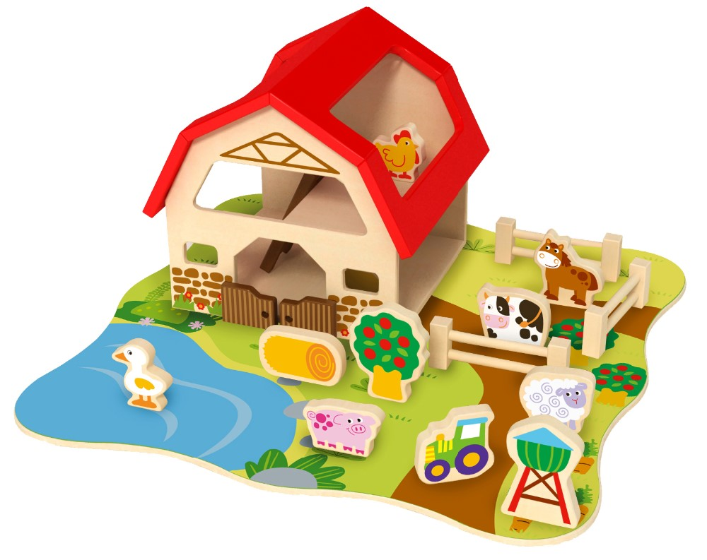 New educational wooden toys farm animal toy