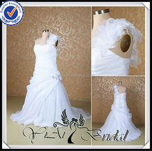RSW512 One Shoulder Flowers Straps Wholesale Alibaba Wedding Gowns For Fat Bride