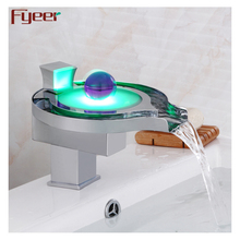 Led function by Hydro Power 3color single handle waterfall led faucet
