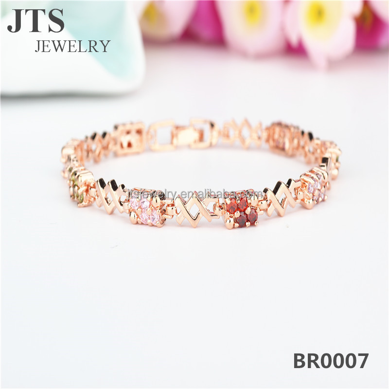 JTS Women Trendy CZ Chain Bracelets 18K Rose Gold Plated Copper Hand Jewelry <strong>Accessories</strong> BR0007