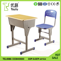 Top sale High quality height adjust school desk with chairs