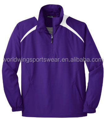 Men's polyester half zip purple with white panels two side pockets sports jacket