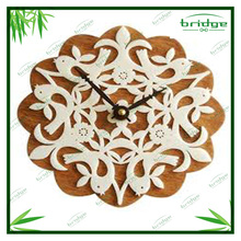 healthy and natural bamboo flower shape handmade cheap wall mount wall clock