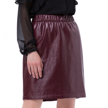 loose waist pleated mini mature woman leather pencil skirt