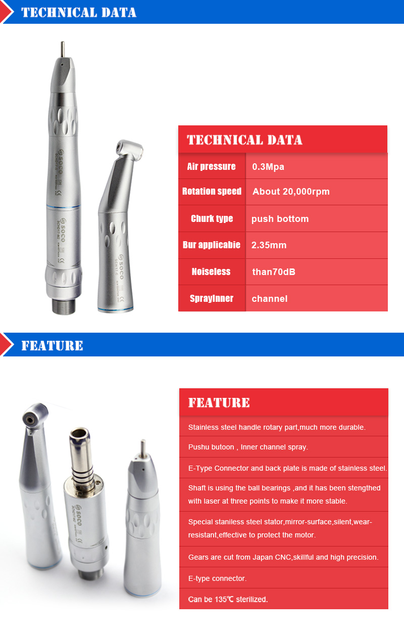 W&H Style Dental Inner Channel Contra Angle & Straight Head Low Speed Handpiece Kit 2 Hole NEW