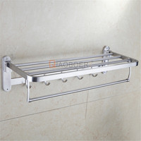 Wholesale chrome wall mounted bathroom towel rack owel shelf with robe hooks